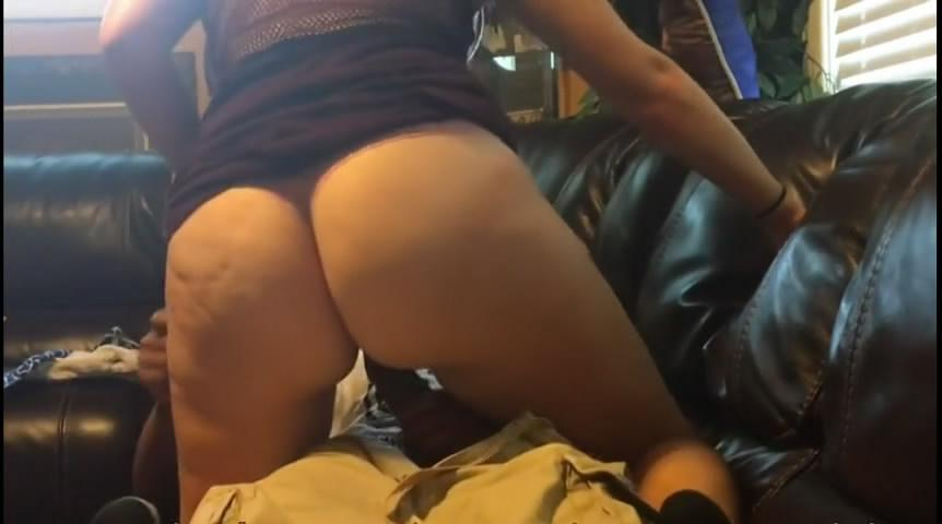 Lady with hot white booty having fun