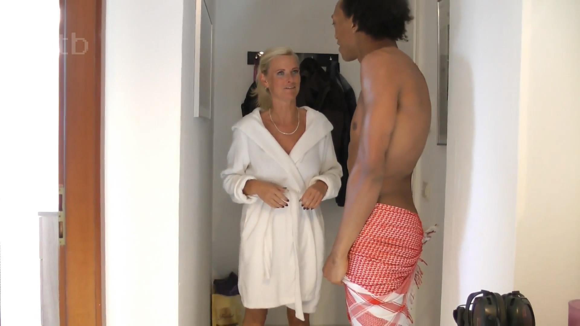 Stunning hot blonde cougar with a black stranger